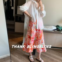 skirt Spring 2021 S,M,L Picture color Middle-skirt Versatile Natural waist A-line skirt Decor Type A other
