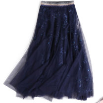skirt Summer of 2018 S,L,M blue Pleated skirt Solid color 18-24 years old z3805 other SUSUIA,SUSUIA Splicing