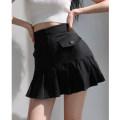 skirt Summer 2021 S,M,L Black, Khaki Short skirt High waist Pleated skirt