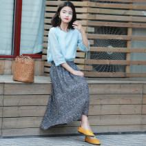 skirt Summer 2020 M, L Decor Mid length dress commute Natural waist A-line skirt Decor Type A 25-29 years old More than 95% hemp Simplicity