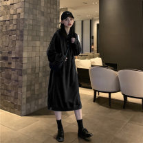 Dress Autumn 2020 Blue, black, orange, black (plush) Average size Mid length dress singleton  Long sleeves Sweet Hood Loose waist routine Others 18-24 years old Type H Other / other More than 95% cotton solar system