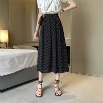 skirt Summer 2021 S,M,L Apricot, black Mid length dress Versatile High waist A-line skirt Dot Type A 18-24 years old ysg7569 30% and below Other / other