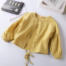Plain coat Other / other female spring and autumn princess Single breasted No model routine nothing Solid color Pure cotton (100% cotton content) Crew neck Cotton 100% Class B