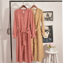 Women's large Autumn 2020 gules Large XL, large XXL, large XXL, large XXXXL, large L Dress singleton  commute Straight cylinder moderate Cardigan Long sleeves Flower color Korean version Medium length printing and dyeing 18-24 years old belt longuette