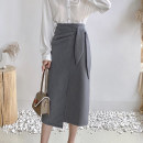 skirt Autumn 2020 S M L Black apricot brown grey Mid length dress commute High waist skirt Solid color Type A 25-29 years old K202008 Yiting Pleated bandage Ol style Exclusive payment of tmall
