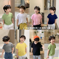 T-shirt Black, dark gray, white, yellow, green, Navy, pink Cotton class 90cm,100cm,110cm,120cm,130cm,140cm neutral summer Short sleeve Crew neck leisure time There are models in the real shooting nothing other Solid color CX1030