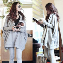 Women's large Autumn of 2018 grey Big size average Sweater / sweater singleton  commute easy moderate Cardigan Long sleeves Solid color Korean version Hood Medium length Cotton, others Three dimensional cutting Bat sleeve zipper 51% (inclusive) - 70% (inclusive) zipper