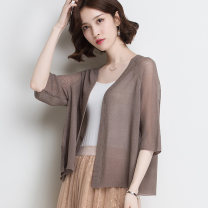 Middle aged and old women's wear Summer 2020 White camel apricot dark Camel M L XL XXL XXXL 4XL commute Knitwear / cardigan easy singleton  Solid color 40-49 years old Cardigan thin V-neck have cash less than that is registered in the accounts routine RC1817 Wise and clear polyester Korean version