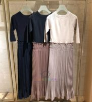 Dress Summer 2020 Navy, beige, LIMITED Average size Fake two pieces three quarter sleeve Sweet Crew neck High waist Solid color Socket Pleated skirt routine Others Type A Pleating 51% (inclusive) - 70% (inclusive) knitting solar system