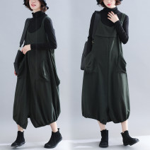 Women's large Winter of 2018 Dark green, black Average size [100-170 kg] trousers singleton  commute easy thick Conjoined Solid color Korean version Cotton, others Other / other 81% (inclusive) - 90% (inclusive) Ninth pants