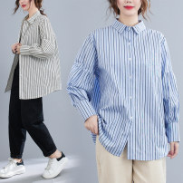 Women's large Spring 2021 Blue, black Average size [recommended 100-180 kg] shirt singleton  commute easy moderate Cardigan Long sleeves stripe Korean version Polo collar routine cotton Three dimensional cutting bishop sleeve Other / other Button 51% (inclusive) - 70% (inclusive)