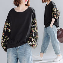 Sweater / sweater Autumn 2020 black Average size [100-200kg recommended] Long sleeves routine Socket singleton  routine Crew neck easy commute bishop sleeve Plants and flowers 81% (inclusive) - 90% (inclusive) Other / other literature cotton Embroidery, stitching, mesh cotton Cotton liner