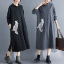 Dress Autumn of 2019 longuette singleton  Long sleeves commute Half high collar Loose waist Animal design Socket A-line skirt routine Others Type A Other / other Korean version Embroidery, pocket 81% (inclusive) - 90% (inclusive) knitting cotton