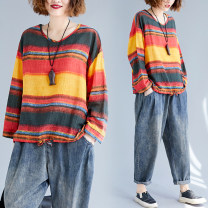 T-shirt Long sleeve rainbow Average size [110-210kg] Autumn of 2019 Long sleeves V-neck easy Regular routine commute hemp 51% (inclusive) - 70% (inclusive) literature originality Thick horizontal stripe Other / other Frenulum