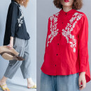 Women's large Autumn of 2018 Red, black shirt singleton  commute easy moderate Cardigan Long sleeves Plants and flowers literature stand collar routine Cotton, hemp routine Other / other 25-29 years old Embroidery 81% (inclusive) - 90% (inclusive)