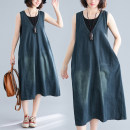 Women's large Summer of 2019, autumn of 2019 blue Dress singleton  commute easy moderate Socket Sleeveless Solid color literature V-neck Denim Make old Other / other pocket 81% (inclusive) - 90% (inclusive) Medium length
