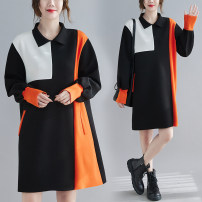 Dress Spring 2021 black Average size [100-200kg recommended] Mid length dress singleton  Long sleeves commute Polo collar Loose waist other Socket A-line skirt routine Others 25-29 years old Type A Other / other Korean version Splicing 51% (inclusive) - 70% (inclusive) other cotton