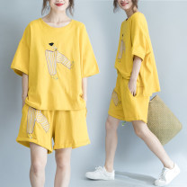 Women's large Summer of 2019 Yellow, black Average size [110-210kg] Two piece set commute easy moderate Socket Short sleeve Animal design, cartoon animation Korean version Crew neck routine cotton routine Other / other Embroidery 96% and above shorts