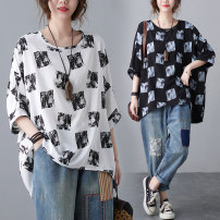 Women's large Summer 2021 White, black L [recommended 100-160 kg], XL [recommended 160-220 kg] T-shirt singleton  commute easy thin Socket Short sleeve Abstract pattern Retro Crew neck routine cotton printing and dyeing Bat sleeve Other / other 25-29 years old 51% (inclusive) - 70% (inclusive)