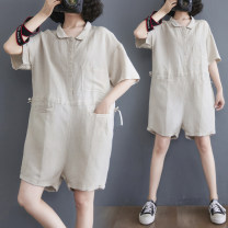 Casual pants Beige Average size [recommended 95-155 kg] Summer 2021 shorts Jumpsuit Natural waist commute Thin money 25-29 years old 51% (inclusive) - 70% (inclusive) Other / other hemp Korean version pocket hemp