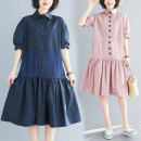 Dress Summer 2020 Navy, pink M [95-120 Jin], l [120-140 Jin], XL [140-170 Jin], XXL [170-200 Jin] Mid length dress singleton  Short sleeve commute Polo collar middle-waisted Solid color Single breasted Ruffle Skirt routine Others Type A Other / other Korean version Ruffles, stitching, buttons other