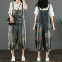 Jeans Summer 2020 Picture color M [95-115 Jin], l [115-135 Jin], XL [135-155 Jin], XXL [155-170 Jin] Cropped Trousers High waist rompers routine 25-29 years old Wash, pattern Cotton denim light colour Other / other 51% (inclusive) - 70% (inclusive)