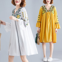 Women's large Autumn of 2019 White, red, Navy, yellow Average size [100-160 kg] Dress singleton  commute easy moderate Socket Long sleeves shape ethnic style V-neck Cotton, hemp Collage pagoda sleeve Other / other Embroidery 81% (inclusive) - 90% (inclusive) Medium length