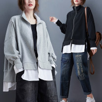 Women's large Spring 2021 Gray, black L [recommended 100-160 kg], XL [recommended 160-220 kg] Sweater / sweater Fake two pieces commute easy moderate Cardigan Long sleeves Solid color Korean version stand collar Medium length cotton Collage routine Other / other Asymmetry zipper