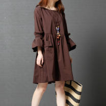 Dress Spring 2020 Middle-skirt singleton  three quarter sleeve commute Crew neck Loose waist Solid color Socket A-line skirt pagoda sleeve Others Type A Other / other Korean version More than 95% other cotton