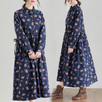 Women's large Spring 2021 Tibetan blue, coffee M [recommended 95-115 kg], l [recommended 115-125 kg], XL [recommended 125-140 kg], XXL [recommended 140-160 kg] Dress singleton  Sweet easy moderate Socket Long sleeves Broken flowers Polo collar cotton printing and dyeing routine Other / other Bandage