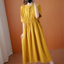 Women's large Summer 2020 yellow Average size [100-170 kg] Dress singleton  commute easy thin Socket elbow sleeve Solid color Korean version Crew neck hemp Collage Bat sleeve Other / other pocket 31% (inclusive) - 50% (inclusive) longuette other