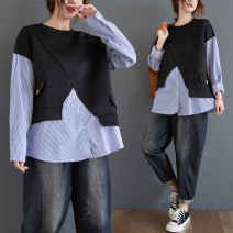 Women's large Spring 2021 Black with blue L [recommended 95-120 kg], XL [recommended 120-140 kg], XXL [recommended 140-170 kg], 3XL [recommended 170-200 kg] Sweater / sweater Fake two pieces commute easy moderate Socket Long sleeves stripe Korean version Crew neck routine cotton Collage routine
