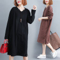 Women's large Autumn of 2019 Brown, black L [100-160 kg], XXL [160-210 kg] Dress singleton  commute easy thick Socket Long sleeves Solid color literature V-neck cotton routine Other / other 71% (inclusive) - 80% (inclusive) Medium length