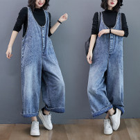 Jeans Spring 2021 blue M [recommended 95-120 kg], l [recommended 120-135 kg], XL [recommended 135-155 kg], XXL [recommended 155-180 kg] trousers High waist rompers routine Make old, wash and whiten Cotton denim Dark color Other / other 81% (inclusive) - 90% (inclusive)