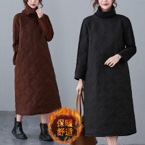 Women's large Winter 2020 Brown, black M [suggested 90-110 kg], l [suggested 110-130 kg], XL [suggested 130-145 kg], XXL [suggested 145-175 kg] Dress singleton  commute easy thickening Socket Long sleeves Solid color Korean version High collar Polyester, cotton Collage routine Other / other pocket