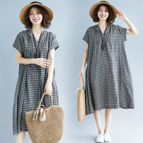 Dress Summer of 2019 Picture color L [100-150 Jin], XL [150-200 Jin] Mid length dress singleton  Short sleeve commute V-neck Loose waist lattice Socket A-line skirt routine Others Type A Other / other literature 71% (inclusive) - 80% (inclusive) other hemp