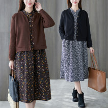 Women's large Spring 2021 Brown, pink, navy M [suggested 90-110 kg], l [suggested 110-125 kg], XL [suggested 125-140 kg], XXL [suggested 140-155 kg], 3XL [suggested 155-170 kg] Dress Two piece set commute Straight cylinder moderate Cardigan Long sleeves Broken flowers Retro stand collar routine other