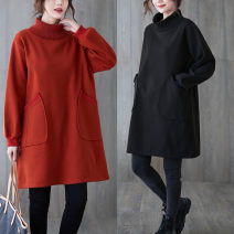Women's large Winter 2020 Black, orange M [recommended 95-120 kg], l [recommended 120-140 kg], XL [recommended 140-170 kg], XXL [recommended 170-200 kg] Dress singleton  commute easy thickening Socket Long sleeves Solid color Korean version High collar Polyester, polyester Collage routine pocket