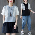 Women's large Summer 2021 Gray, black Average size [100-170 kg recommended] T-shirt Fake two pieces commute easy moderate Socket Short sleeve Solid color Korean version Crew neck routine cotton Collage routine Other / other Lace stitching 51% (inclusive) - 70% (inclusive)