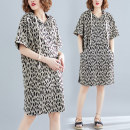 Women's large Summer of 2019 Picture color Dress singleton  commute easy moderate Socket Short sleeve Leopard Print Korean version Hood cotton printing and dyeing Other / other 81% (inclusive) - 90% (inclusive) Medium length
