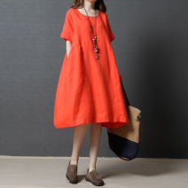 Dress Summer 2020 Mid length dress singleton  Short sleeve commute Crew neck Loose waist Solid color Socket A-line skirt routine Others Type A Other / other Korean version pocket More than 95% other hemp