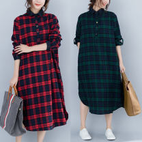 Dress Spring 2021 Red, green Average size [100-170 kg recommended] longuette singleton  Long sleeves commute Polo collar Loose waist lattice Single breasted A-line skirt routine Others Type A Other / other literature Pockets, stitching 51% (inclusive) - 70% (inclusive) other cotton