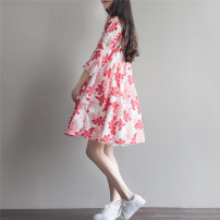 Dress Summer 2016 Red flower + Sling Blue Flower + sling M L XL 2XL Mid length dress Two piece set elbow sleeve commute square neck Loose waist Decor Socket A-line skirt routine Others Type A literature printing 51% (inclusive) - 70% (inclusive) hemp
