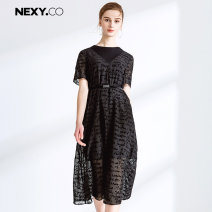 Dress Summer of 2019 black 36/S 38/M 40/L 42/XL 44/XXL Mid length dress singleton  Short sleeve commute Crew neck High waist Socket A-line skirt routine Others 35-39 years old Type A NEXY.CO/ Naikou Simplicity Flocking X1AHF66111 More than 95% polyester fiber Polyester 100%