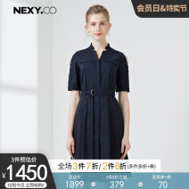 Dress Summer of 2019 blue 36/S 38/M 40/L 42/XL 44/XXL Mid length dress singleton  Short sleeve commute V-neck High waist Solid color other A-line skirt routine Others 35-39 years old NEXY.CO/ Naikou Simplicity Frenulum X1AHF62220 51% (inclusive) - 70% (inclusive) cotton
