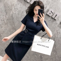 Dress Summer 2020 Short sleeve blue dress short sleeve black dress S M L XL XXL XXXL 4XL Short skirt singleton  Short sleeve commute V-neck High waist Solid color Socket One pace skirt routine 25-29 years old Aoxi zipper AX2073 51% (inclusive) - 70% (inclusive) polyester fiber