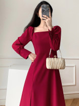 Dress Autumn of 2018 claret S M L XL Mid length dress singleton  Long sleeves commute square neck High waist Solid color zipper A-line skirt puff sleeve 18-24 years old Type A Eshen / Yishen Simplicity ESHEN9978 More than 95% other Other 100% Pure e-commerce (online only)