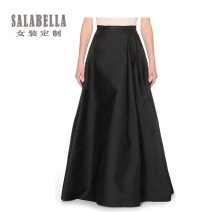 skirt Summer of 2018 black longuette commute Natural waist Princess Dress Solid color Type A 25-29 years old More than 95% Silk and satin silk Zipper, tuck Ol style