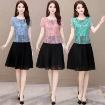 Dress Summer 2021 Green, blue, pink L,XL,2XL,3XL,4XL,5XL Middle-skirt Fake two pieces Short sleeve commute Crew neck middle-waisted Decor Socket A-line skirt routine Others 35-39 years old Type A Korean version Lotus leaf edge 81% (inclusive) - 90% (inclusive) Chiffon other