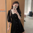 Dress Summer 2021 Black, checkered, floral S,M,L Middle-skirt singleton  Short sleeve commute Lotus leaf collar middle-waisted Decor Socket A-line skirt puff sleeve Hanging neck style 18-24 years old T-type Korean version 8775 in stock 71% (inclusive) - 80% (inclusive) Chiffon acrylic fibres